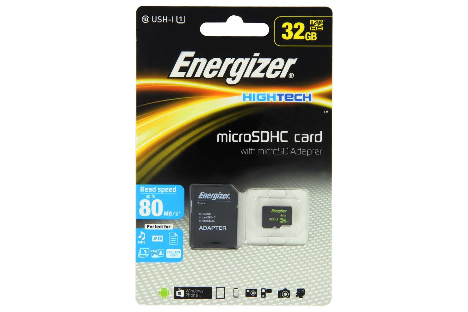 Energizer Hightech Micro SDHC Card and Micro SD Adapter | 32GB