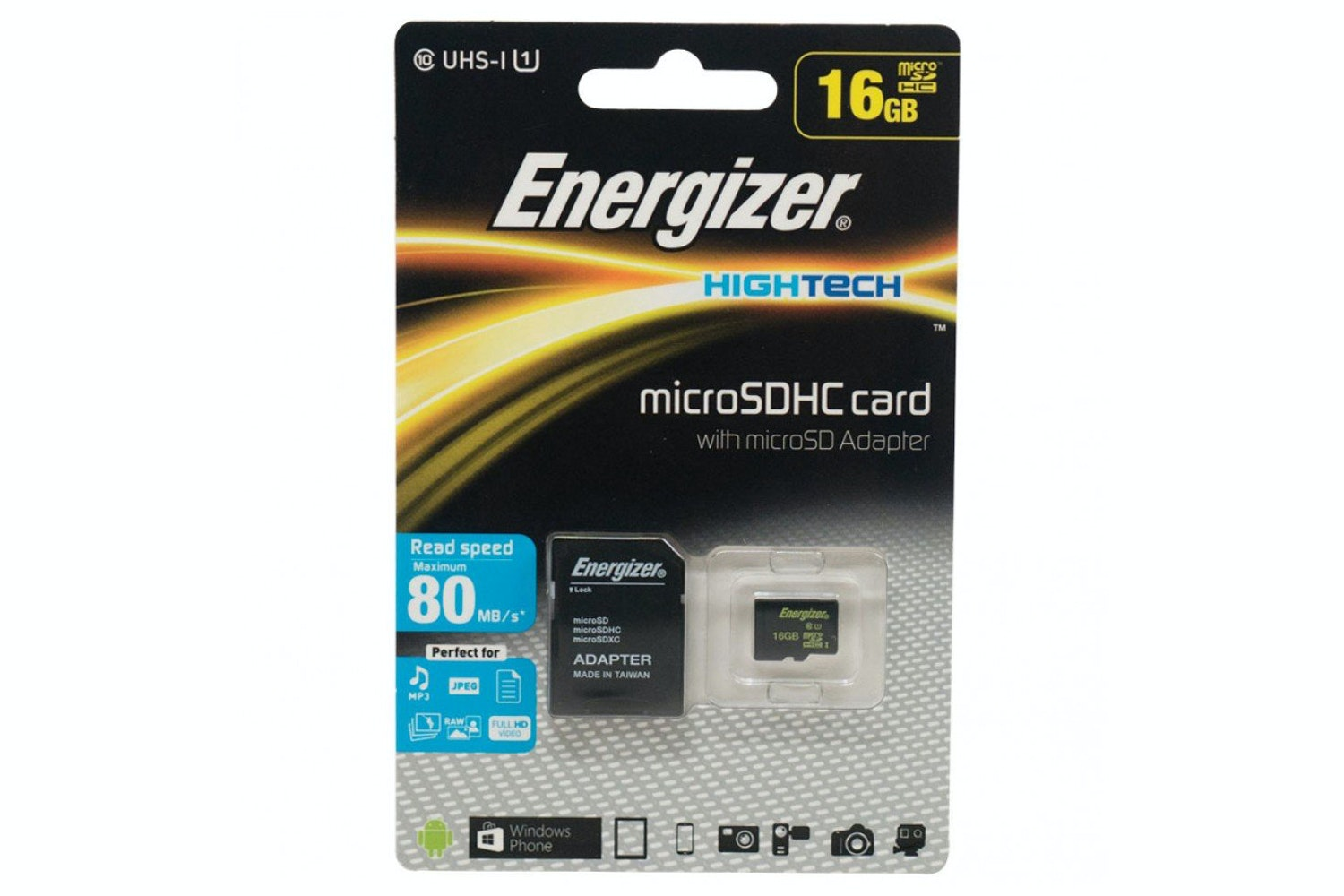 Energizer Hightech Micro SDHC Card and Micro SD Adapter | 16GB