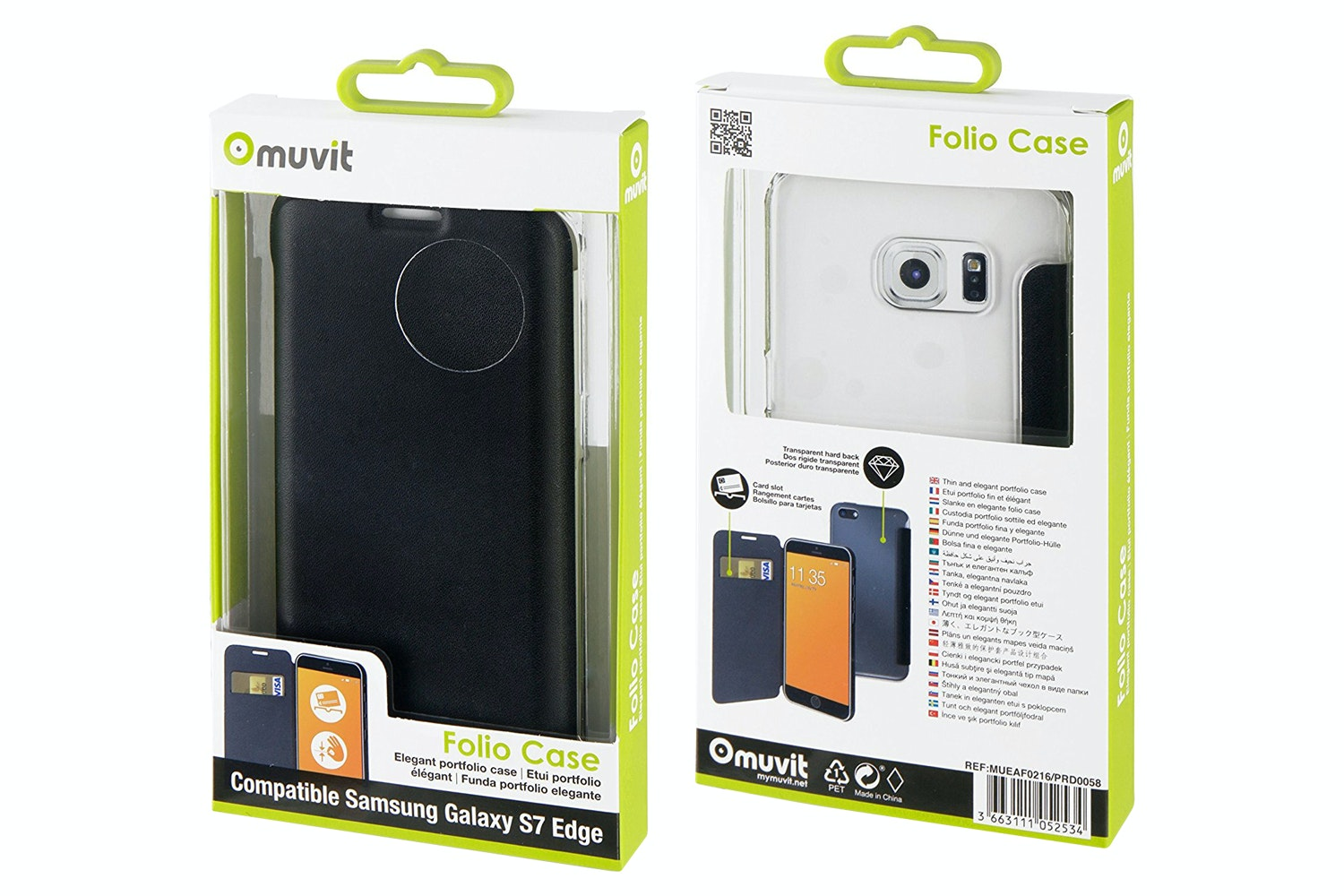 Muvit Folio Case For Samsung Galaxy S7 Edge | Black