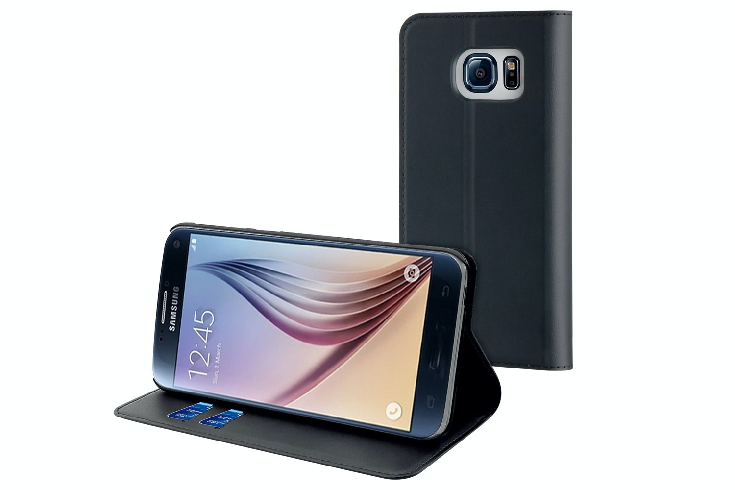 Muvit Folio Stand Case For Samsung Galaxy S7 | Black