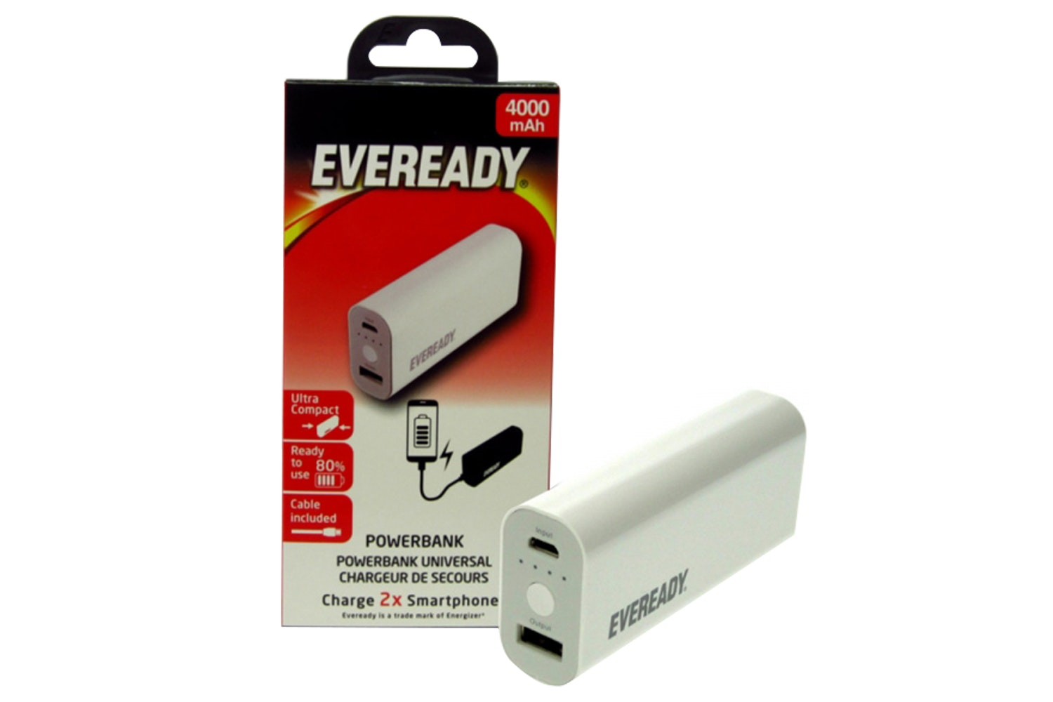 Eveready 4000mAh Poratble Power Bank | White