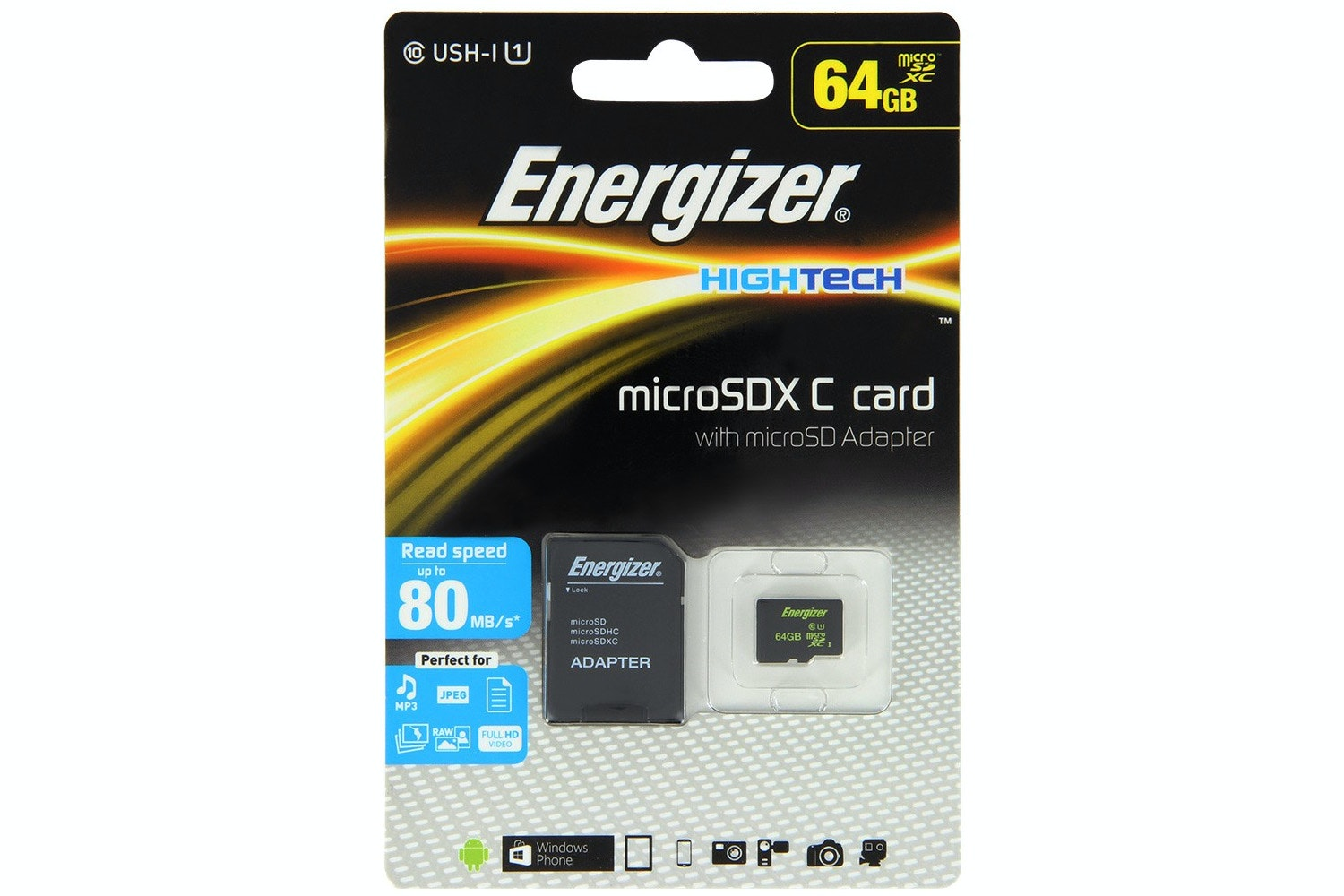 Energizer Hightech Micro SDHC Card and Micro SD Adapter | 64GB