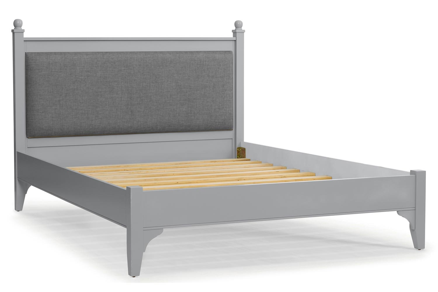 Lynwood Bed Frame | 4ft6 | Velvet Grey&Vintage Silver