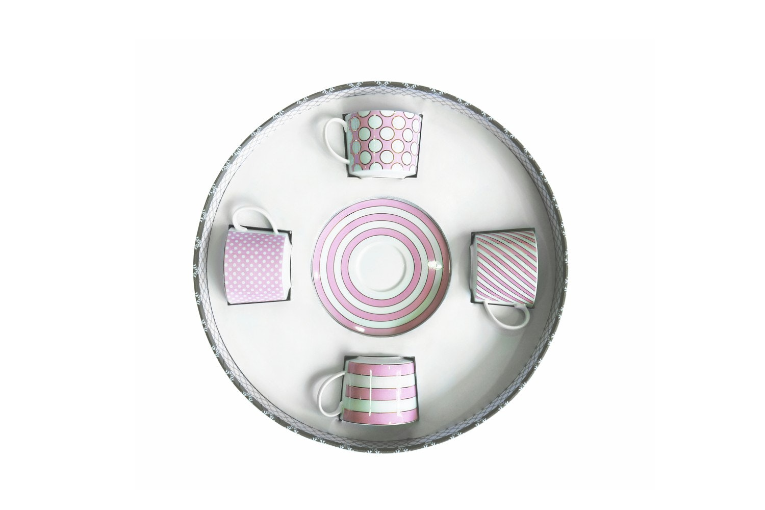 Set Of Four Spot Cappuccino Cups   Pink