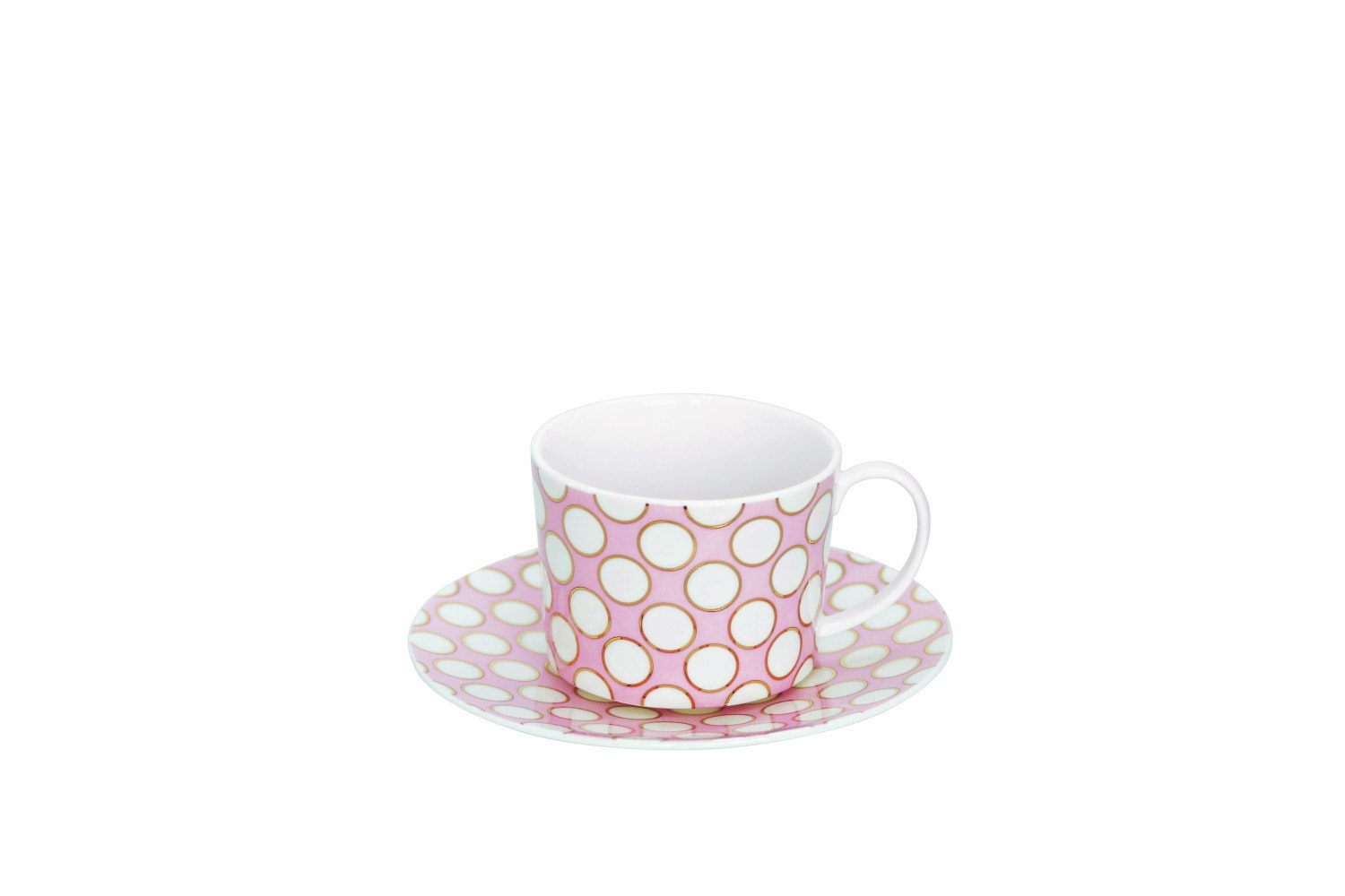 Set Of Four Spot Cappuccino Cups | Pink