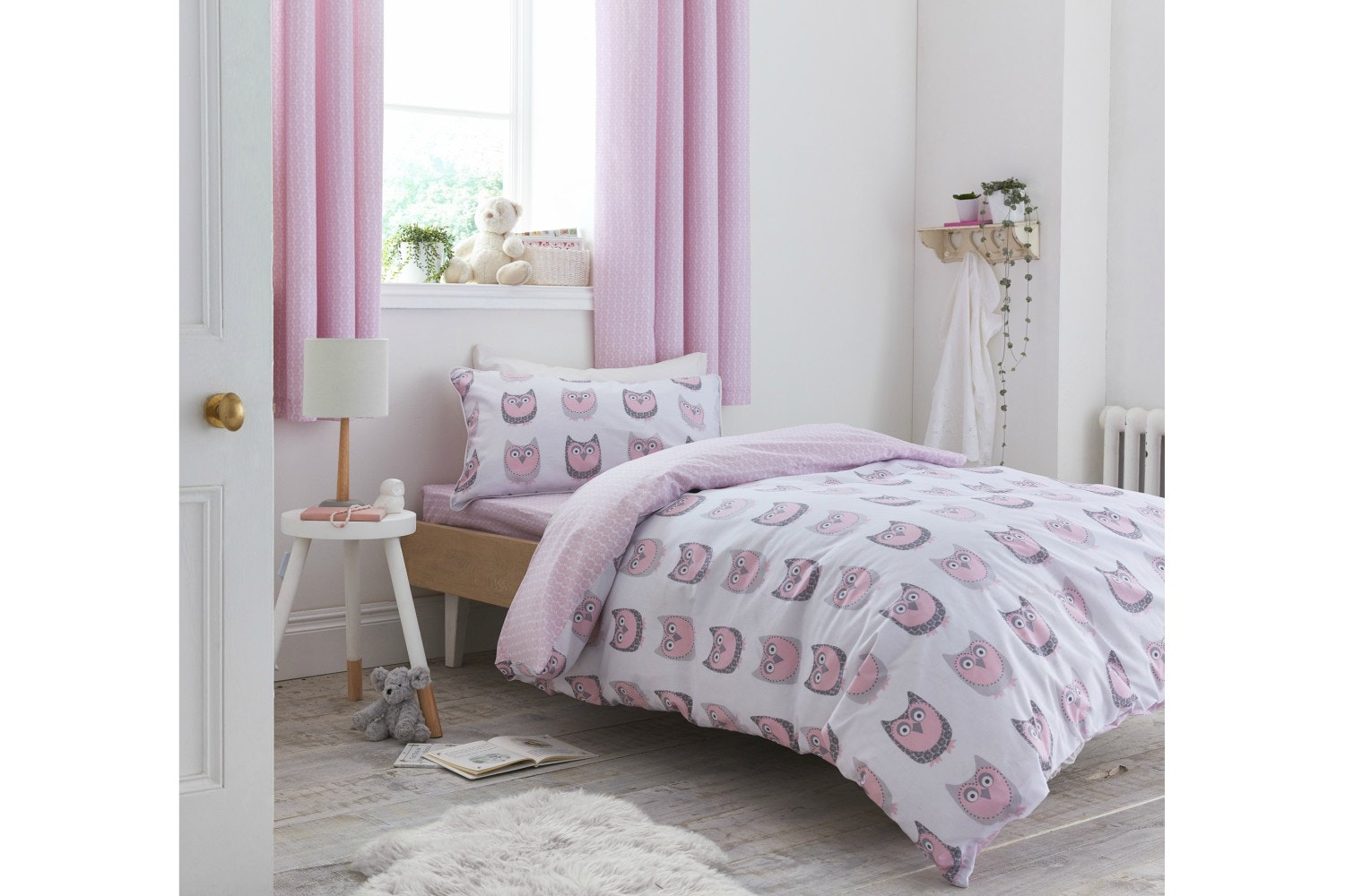Owl Cotton Print Blush Duvet Cover | Single