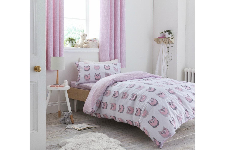 Owl Cotton Print Blush Duvet Cover Set | Single