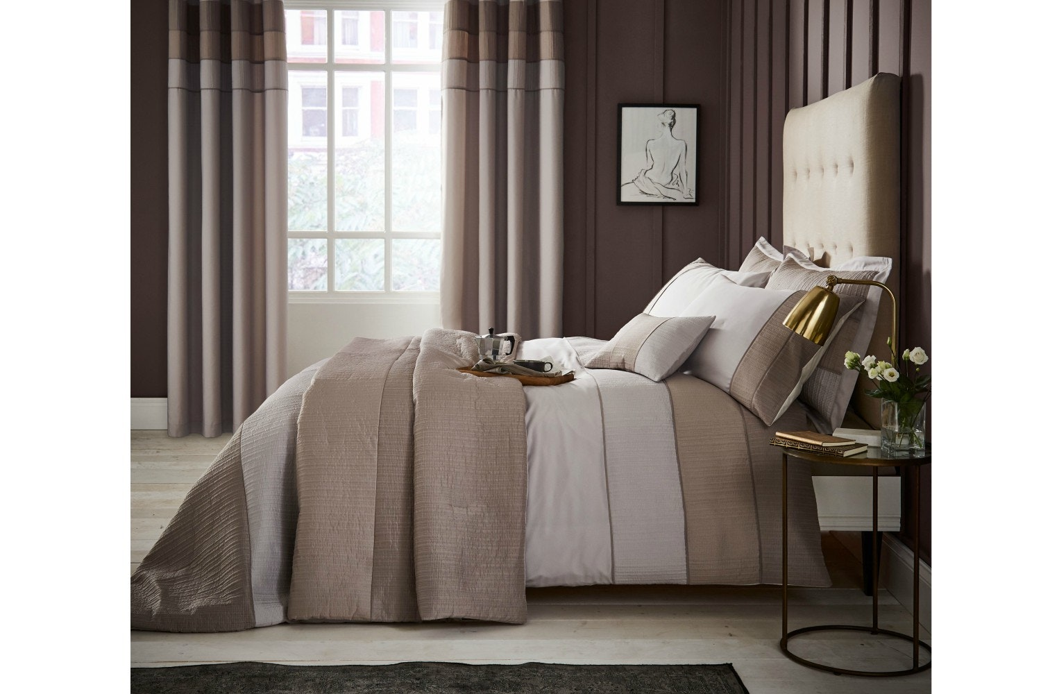 Ombre Ribbed Bands Duvet Cover Set | Double
