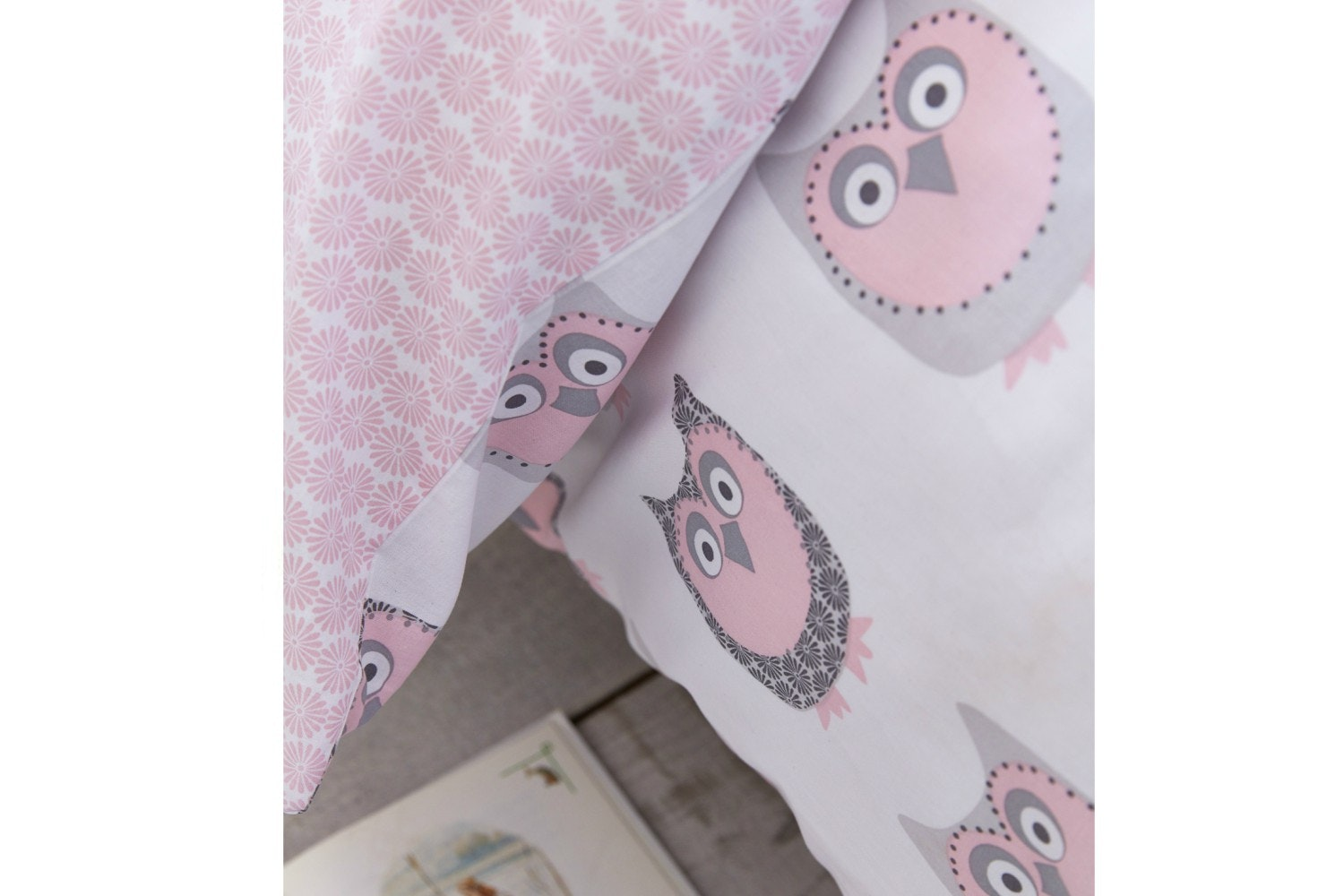 Owl Cotton Print Blush Duvet Cover Set | Single