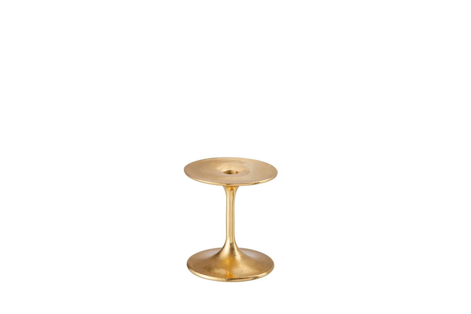 Candle Holder Round Aluminum Gold | Small
