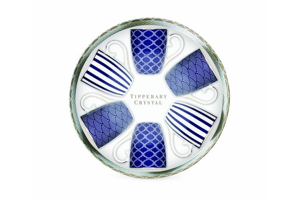 Tipperary Crystal Set 6 Mugs - Blue Stripe