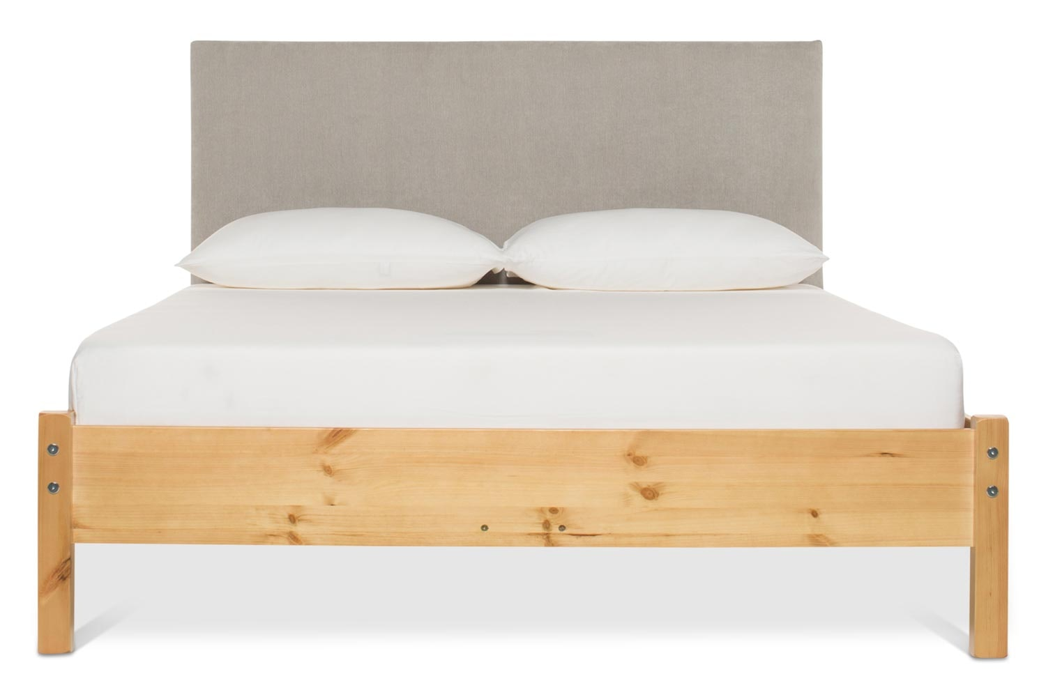 Emily Loft Natural Bed Frame | 6FT | Dylan Headboard Silver