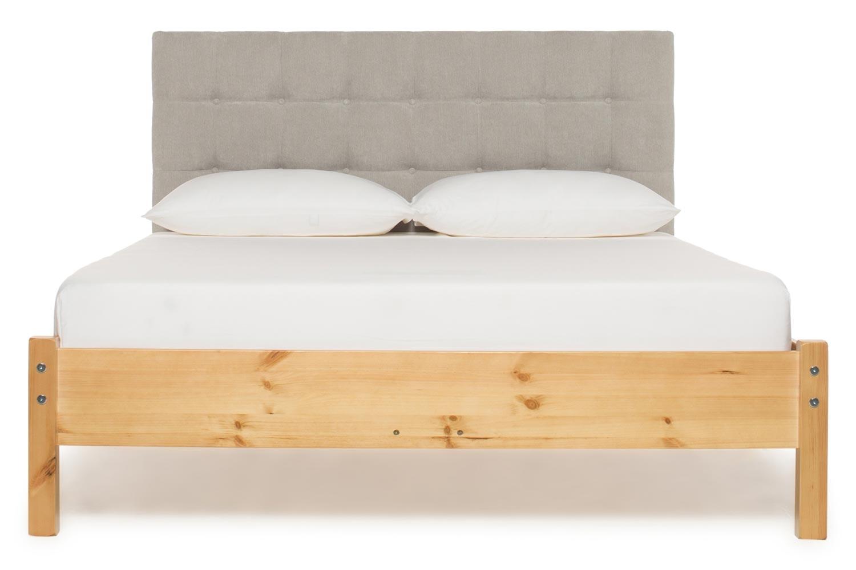 Emily Loft Natural Bed Frame | 4FT6 | Portman Headboard Silver