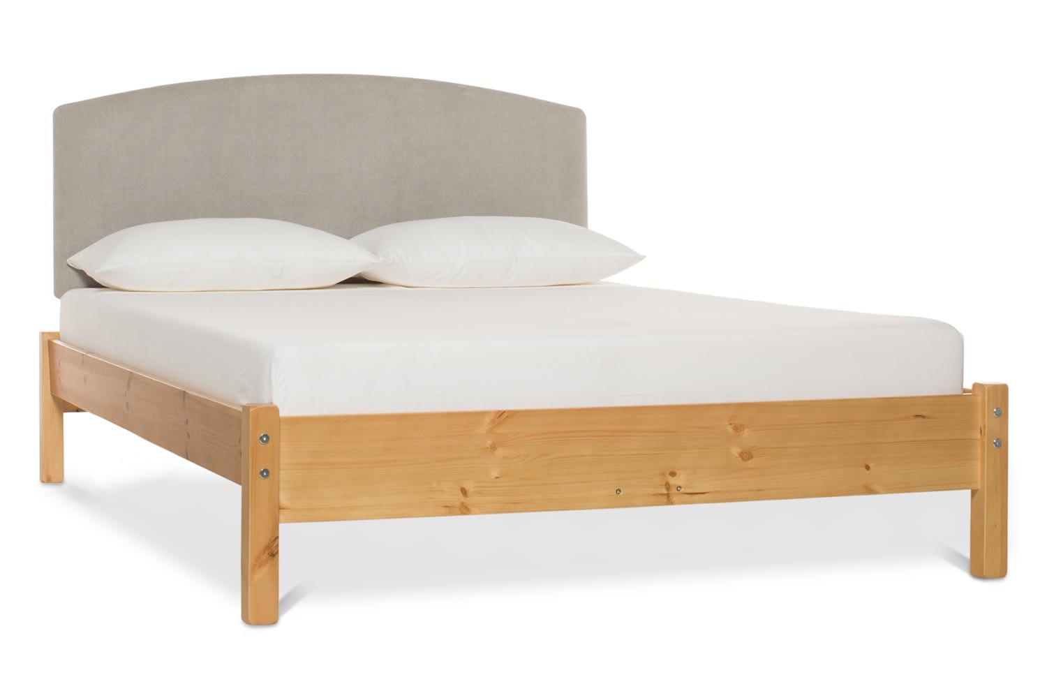 Emily Loft Natural Bed Frame | 6FT | Lennon Headboard Silver