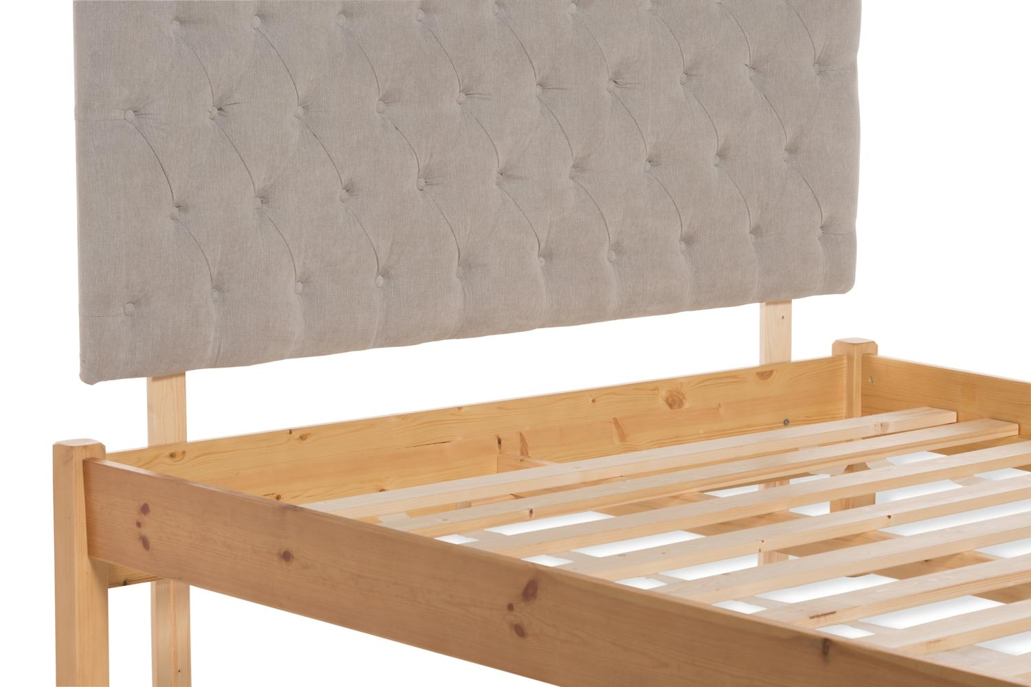 Emily  Loft Natural Bed Frame | 5FT | Marley Headboard Silver