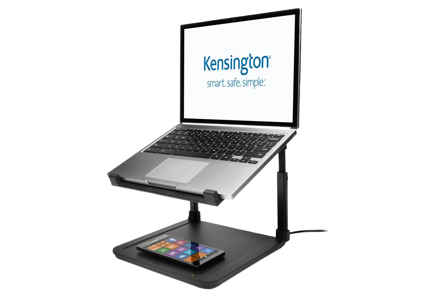 Kensington SmartFit Laptop Riser with Wireless Phone Charging Pad | Black