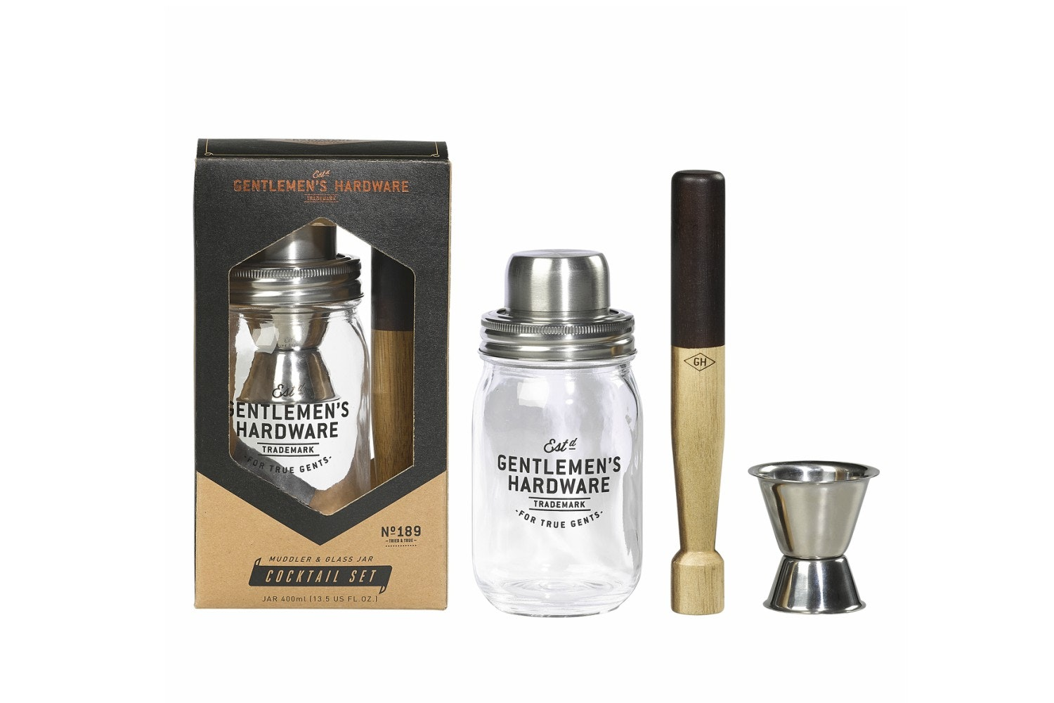 Muddler And Glass Jar Cocktail Set