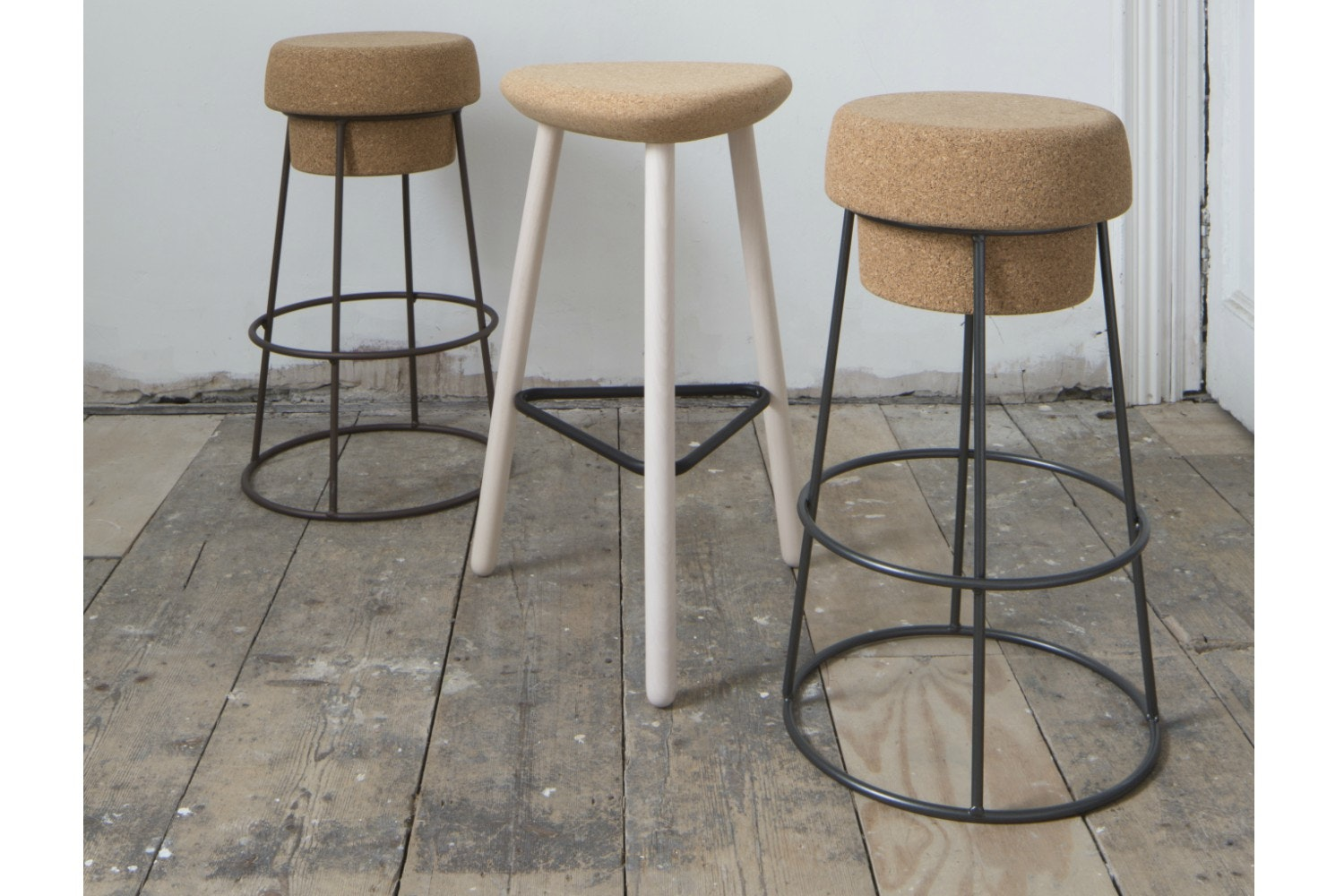 Pick Bar Stool | Tall | Painted Frame And Cork Seat