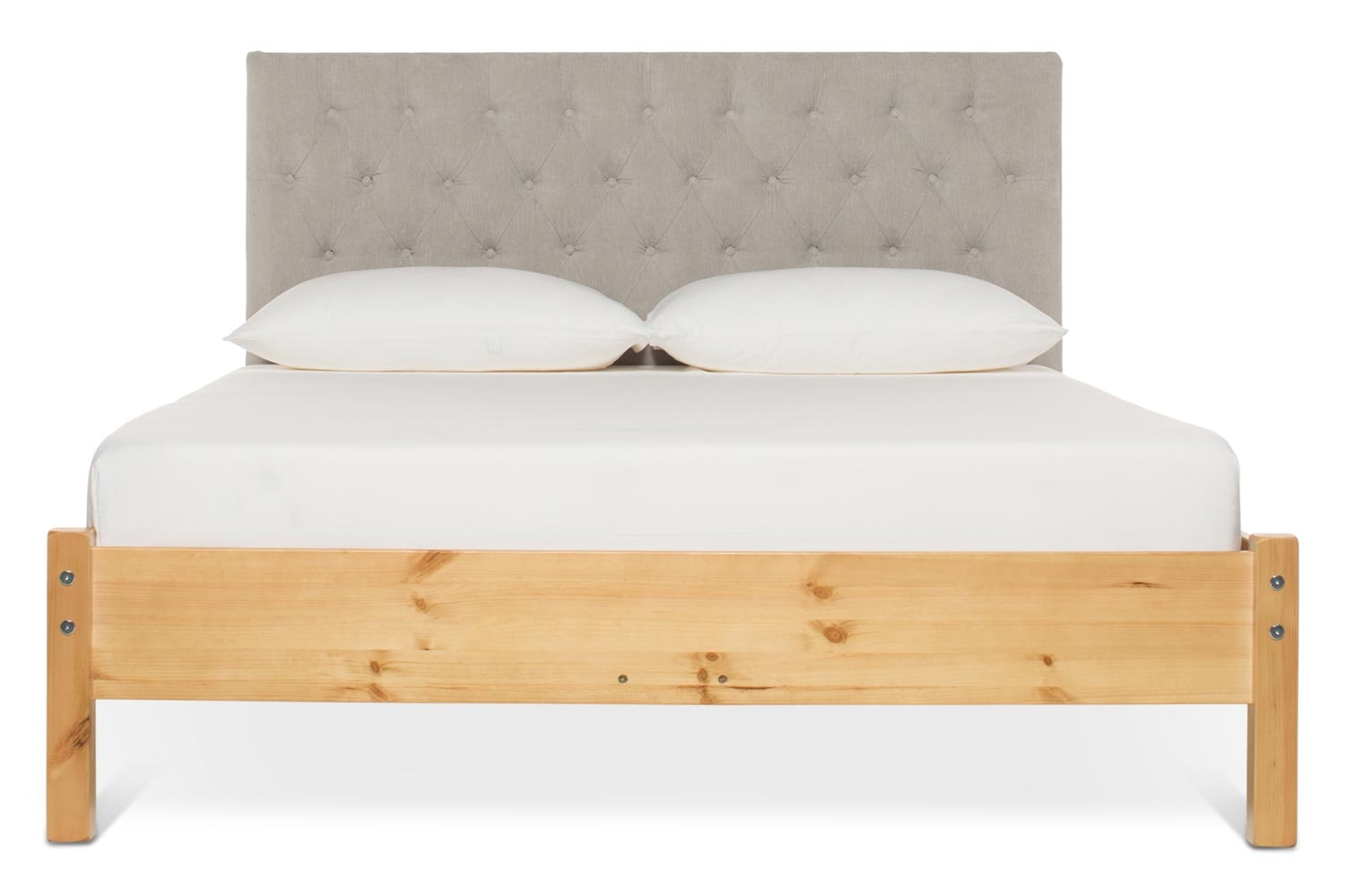Emily Loft Natural Bed Frame | 4FT6 | Marley Headboard Silver
