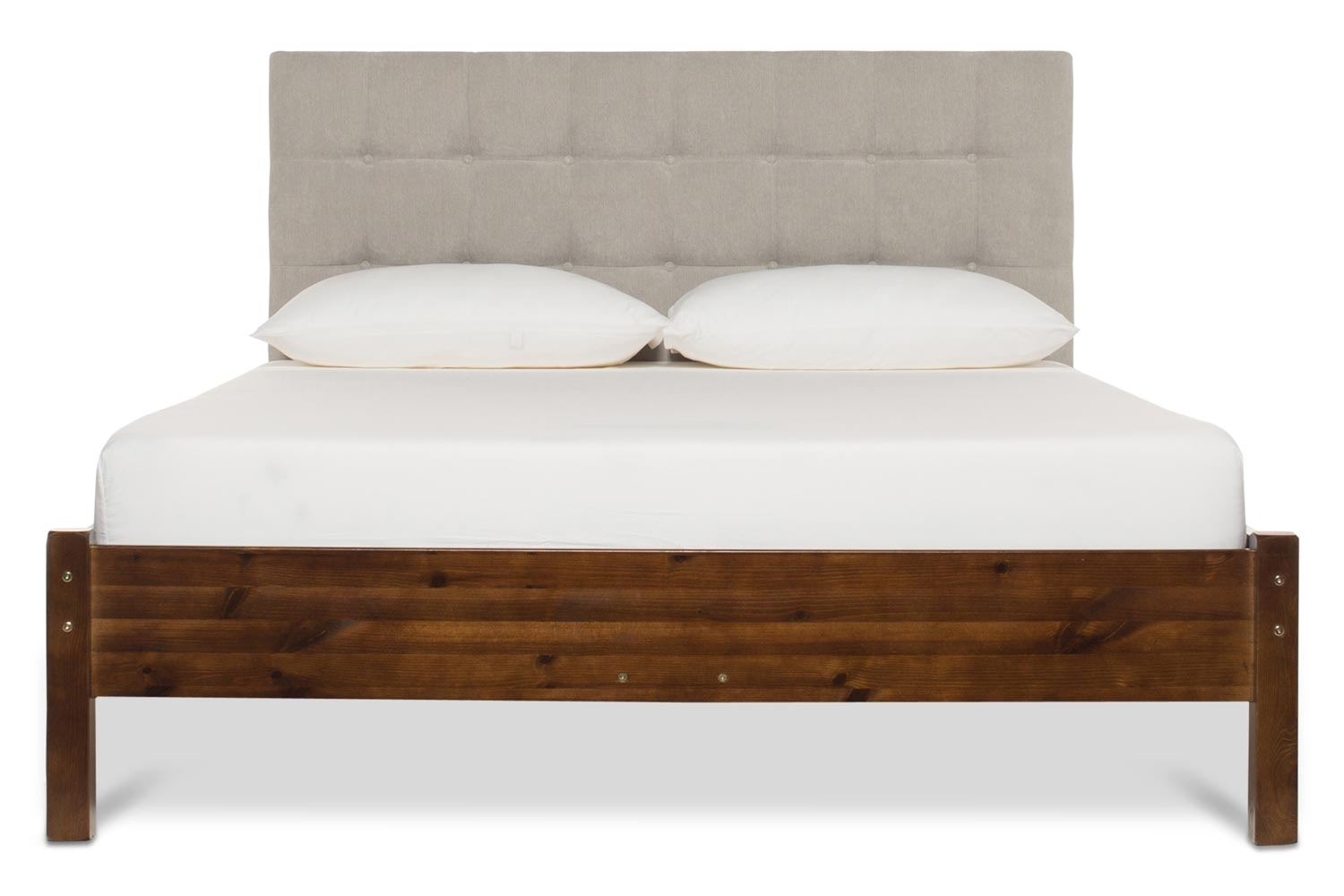 Emily Loft Walnut Bed Frame | 4FT6 | Portman Headboard Silver