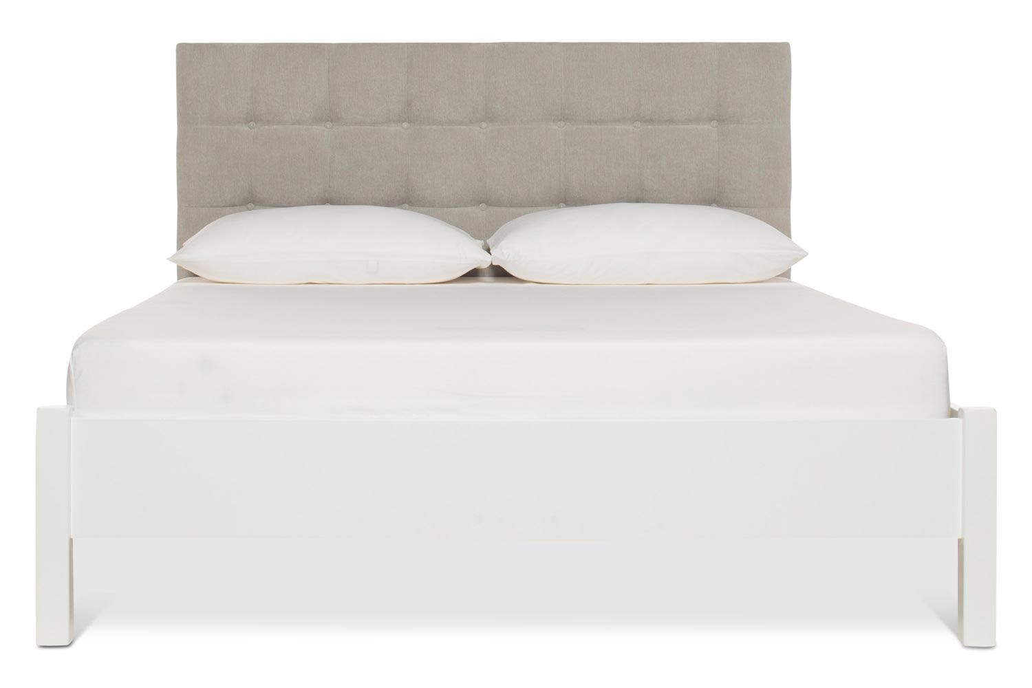 Emily Loft White Bed Frame | 4FT6 | Portland Headboard Silver