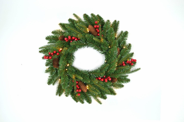 Pre Lit Wreath | Berries & Cones